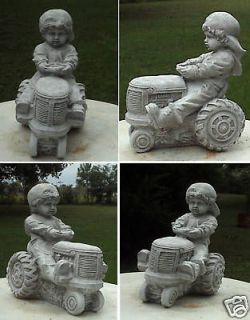 FARM COUNTRY BOY ON TRACTOR GRAY/WHITE ANTIQUED CEMENT/CONCRETE GARDEN