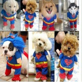 PET DOG CAT SUPERMAN CLOTHES COTTON JUMPSUIT COSTUME APPAREL COAT
