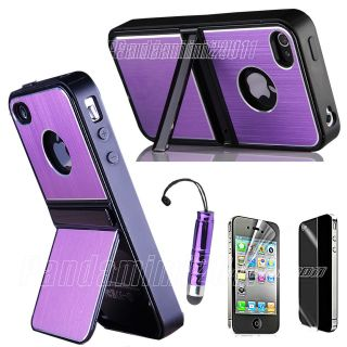 Purple Aluminum TPU Hard Case Cover w/ Chrome Stand For iPhone 4 4G 4S