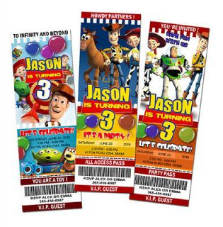 BIRTHDAY PARTY INVITATION TICKET 1 2 3 INVITE WOODY BUZZ DISNEY 1ST A3