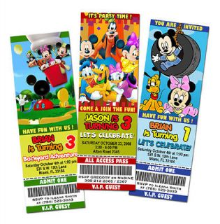 MOUSE CLUBHOUSE DISNEY BIRTHDAY PARTY INVITATION TICKET FIRST 1ST  A1