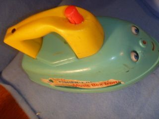 Fisher Price Vintage Music Box Iron Pull Toy. 1966 #125. works