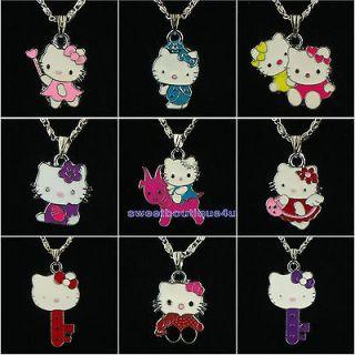 fashion 9pcs cute hellokitty cat charm pendants necklace for girl kid