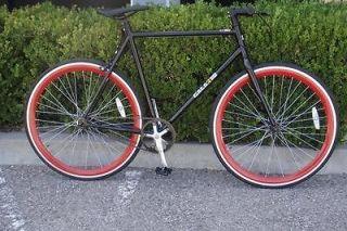 Fixed Gear Bike Fixie Bike Road Bicycle 58cm Black w Deep 43mm Red
