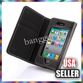 iPHONE 4 4G 4S Black Card Holder WALLET LEATHER FLIP CASE COVER Pouch
