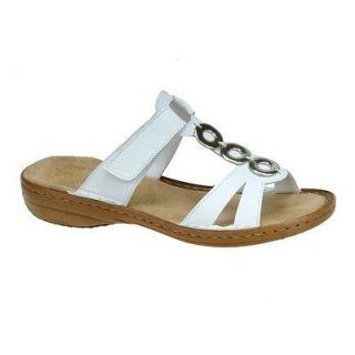 Rieker Regina Womens White Leather Sporty Mule Sandals Wedges