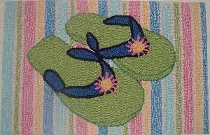 FLIP FLOP Design Cotton Back RUG 20 x32 NEW