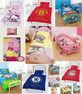 COT BED DUVET COVER SET DISNEY KIDS TV CHARACTER OR FOOTBALL CLUB