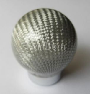 Siver 3K Carbon Fiber Shift Knob Head Ball For Ford Lincoln Jeep