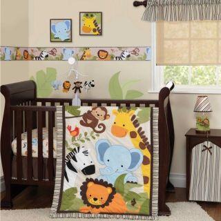 Animals Neutral Baby Boy/Girl 3p Cheap Monkey Nursery Bedding Set