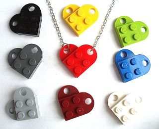 LEGO Heart Necklace Silver / Gold Plated plate brick best friends
