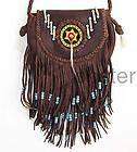 Lucky Brand purse brown leather handbag fringe hippie bag