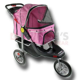 Pink Pet Jogger Jogging Dog Cat Stroller Carrier All Terrain 3 Wheel