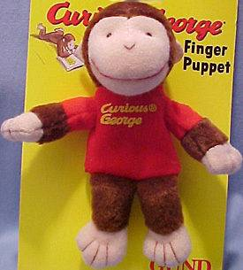 Curious George Plush Full Body Finger Puppet ADORABLE C