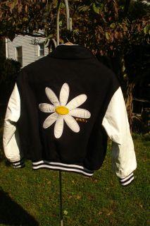DAISY FLOWER GIRLS VARSITY STYLE JACKET WHITE LEATHER ARMS SIZE 10