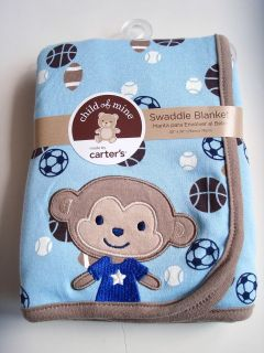 NEW Child of Mine by Carters SWADDLE BLANKET Blue/Brown Sports Baby