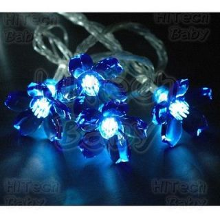 10x Blue CHERRY BLOSSOM Ornament Add On Caps for LED Xmas/Net/Fairy