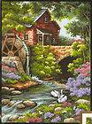 New Dimensions Old Mill Cottage Flowers, Stream Needlepoint Kit