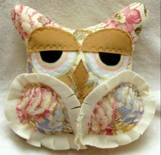 Owl Pillow Shabby Country Chic Soft Floral Print