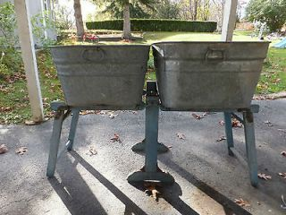 Primitive Wash Tub Stand   Will Hold 2 Tubs Any Shape Blue Paint