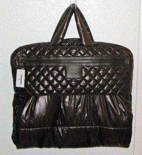 Brown Cocoon Long TRAVEL GARMENT BAG Quilted Nylon Leather NWT MPRS