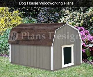 Large Dog House Plans Gambrel / Barn Roof Style 90304B, Pet Size up to