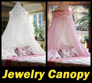 New White/Pink Baby Crib Bed Canopy Mosquito Netting Jewelry