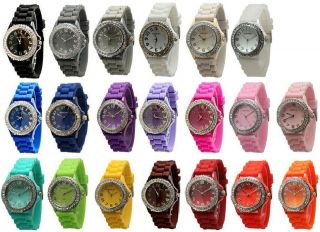 Geneva SILICONE RUBBER JELLY WATCH with CRYSTALS Bling Designer Watch