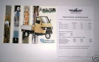 Piaggio Ape 50 Reliant original brochure & price list