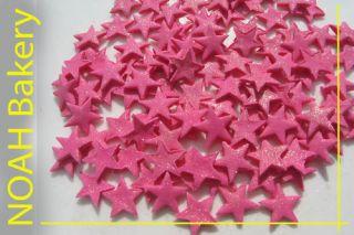 Pink Stars glittering edible cake&cupcake topper (100)