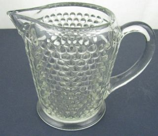 Antique EAPG Clear Glass Hobnail Basket Weave Milk Pitcher Vintage