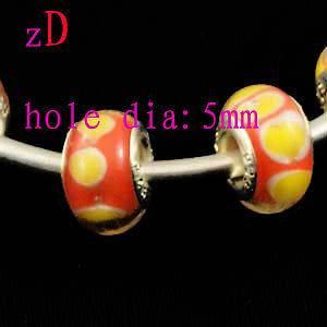 P1512 6pcs Silver Plate Murano Glass Beads For Bracelet