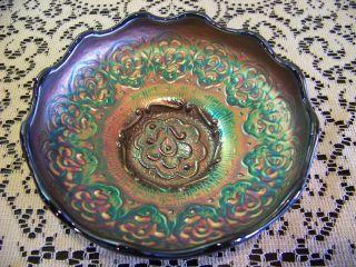 Antique Fenton Carnival Glass Blue Persian Medallion Berry Fruit Bowl