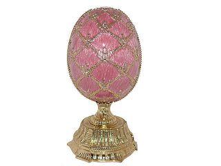 Swarovski Crystal Pink Russian Faberge Egg with Basket