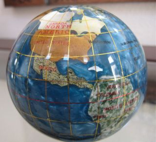 Alexander Kalifano Genuine Gemstone Globe Paperweight Ornament, 3