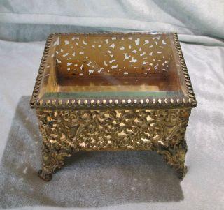 Nouveau Style Gold Metal & Beveled Glass Hinged Trinket Jewelry Box