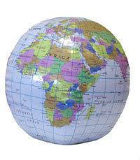 40CM INFLATABLE GLOBE WORLD MAP ATLAS BEACH BALL BLOW UP PLANET EARTH