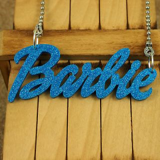 BLUE ACRYLIC PENDANT KITSCH BARBIE NAME NECKLACE JEWELRY NICKI MINAJ