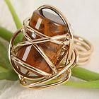 Tigers Eye Gold Plated Over Copper Coiled Ring g264