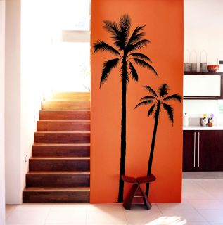 XXL SET OF 2   PALM TREE 75 TALL VINYL WALL DECALS COCONUT PALMIER