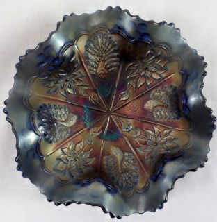 Peacock and Dahlia Vintage Carnival Glass Blue Cobalt 7 Ruffled Bowl