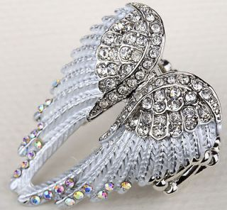 Clear crystal angel wing stretchy ring JEWELRY 2;buy 10 items free