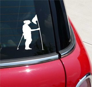 GOLF 3 WOMAN HOLDING FLAGSTICK PGA GREEN GRAPHIC DECAL STICKER VINYL