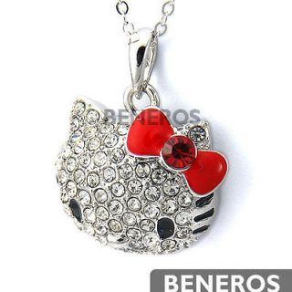 Cute Hello Kitty Red Bow Silver Cat Pendant Necklace w Lovely