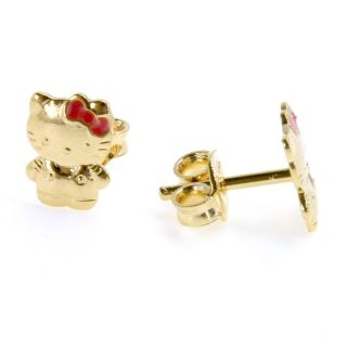 Gold GF Funny Kitten Earrings Girl Kids Baby Infants Tiny Hello Kitty