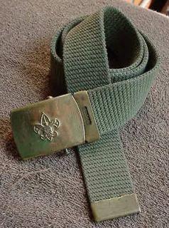 Old Boy Scout BSA Web Belt & Brass Buckle 28 Waist