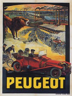 PEUGEOT LION FACTORY BICYCLE BIKE CAR FRANCE FRENCH VINTAGE POSTER