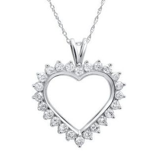 10k White Gold Heart Diamond Pendant Necklace