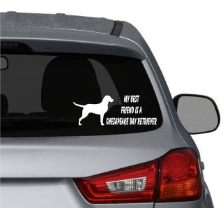 friend is a Chesapeake Bay Retriever Dog vinyl car window stickers