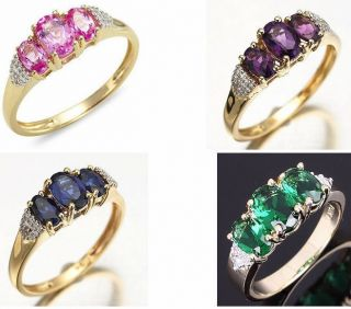 Womans 10KT Yellow Gold Filled Ring Size 7,8,9 Garnet/Emerald Gift
